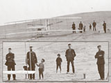Wright Brothers and others gathered by the Wright Flyer
